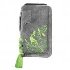 Lederhosen Smartphone Tascherl (grau/grün)