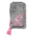 Lederhosen Smartphone Tascherl (grau/rosa)