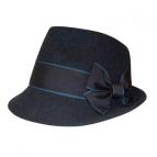 Trachtenhut Madame mit Schleife blau  60