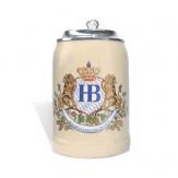 Hofbräuhaus Bierkrug Löwendekor mit Zinndeckel