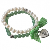 Hofbräuhaus Armband Perle mit Vichy grün